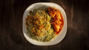 Baghaleh Polo with Chicken