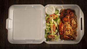 Zereshk Polo with Chicken and Salad